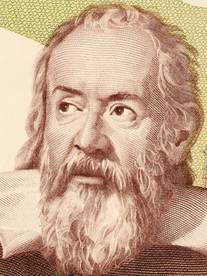 Galileo Galilei on 2000 Lire 1983 banknote from Italy.