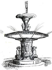 A pen-and-ink drawing of Soldiers Memorial Fountain