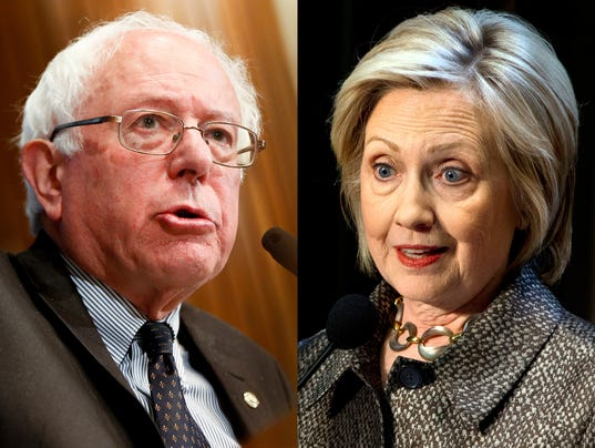 Bernie Sanders on the left and Hillary Clinton on the right Democratic Presidential Candidates
