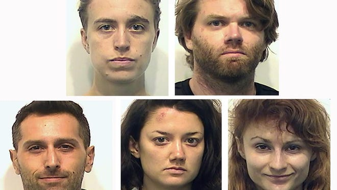 The five people who were arrested Saturday night during a protest are Joan Steffen, top left; Michael Simpson, Gregory Wakmulski, bottom left; Lauren Matthias and Ella Fassler.