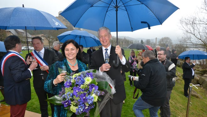 'Outlander' series author Diana Gabaldon with Avalon Waterways' managing director Patrick Clark at the christening of Avalon's new Avalon Tapestry II in Les Andelys, France on March 24, 2015.