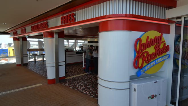 A Johnny Rockets burger eatery is located on Deck 14 near the main pool.