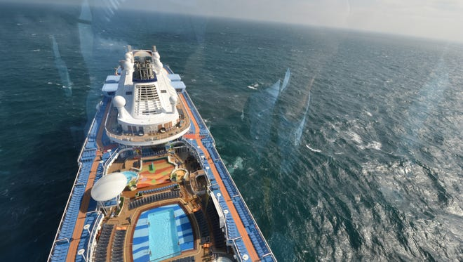 The view from Anthem of the Seas' North Star as the ship sails in the English Channel on April 19, 2015.