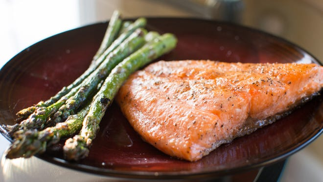 Beautiful salmon fillets Anthony Castonzo style. His grilling method also works for asparagus.