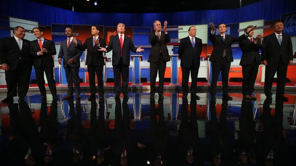 Republican presidential candidates from left, Chris