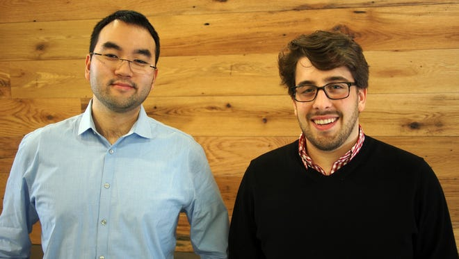 Eric Huang, left, and Steven Mazur, right, cofounders of Ash & Anvil clothing retailer