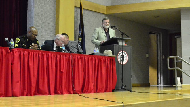 From left: Broome County Sheriff Deputy Sam Davis, Broome County District Attorney Gerald Mollen, Capt. Patrick Garey of the New York State Police, and Alan Wilmarth, the Administrative Director of Behavioral Health Services at United Health Services at Chenango Valley High School's first drug awareness panel Wednesday