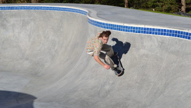 Ryan Warwick, 23, tries oout the pool in tthe new Salisbury Skatepark on Tuesday. The park officially opens on Saturday.