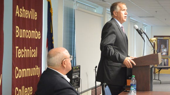 Thom Tillis speaks to the Council of Independent Business Owners at Asheville-Buncombe Technical Community College's Enka campus during his 2014 campaign for U.S. senator.