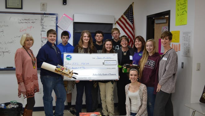 The Ruidoso Valley Chamber of Commerce recently presented two pledge checks to Ruidoso High School Programs. One went to the TeePee Lounge and the other to the MESA Program. The TeePee Lounge is a culinary training program, MESA helps prepare students for careers in mathematics, engineering and science.