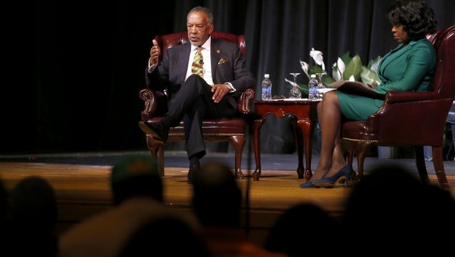 John Thompson, CEO of virtual instruments, chairman of the Microsoft Corporation and Florida A&M University Alumni, spoke alongside FAMU President Elmira Mangum during an event at Lee Hall on the school's campus Monday.