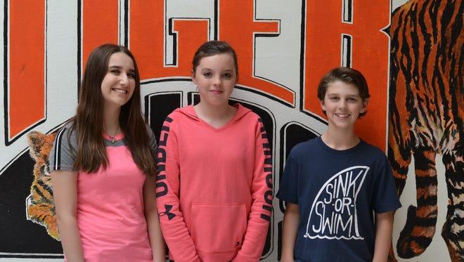 Capitan Middle School students of the month, from left; Jadyn Gasser, eighth grade, Jordan Ortiz, seventh grade; and Hayden King, sixth grade.