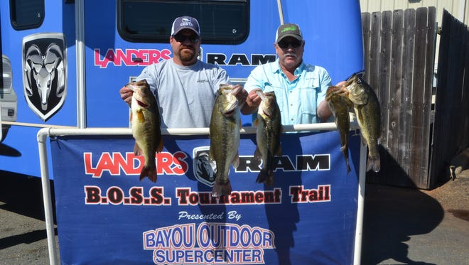 Jeremy Botica and Rickey Lee won the Landers/Ram event on Lake Bistineau with a huge stringer.
