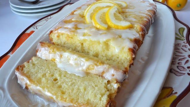 Lemon Cream Loaf sliced.