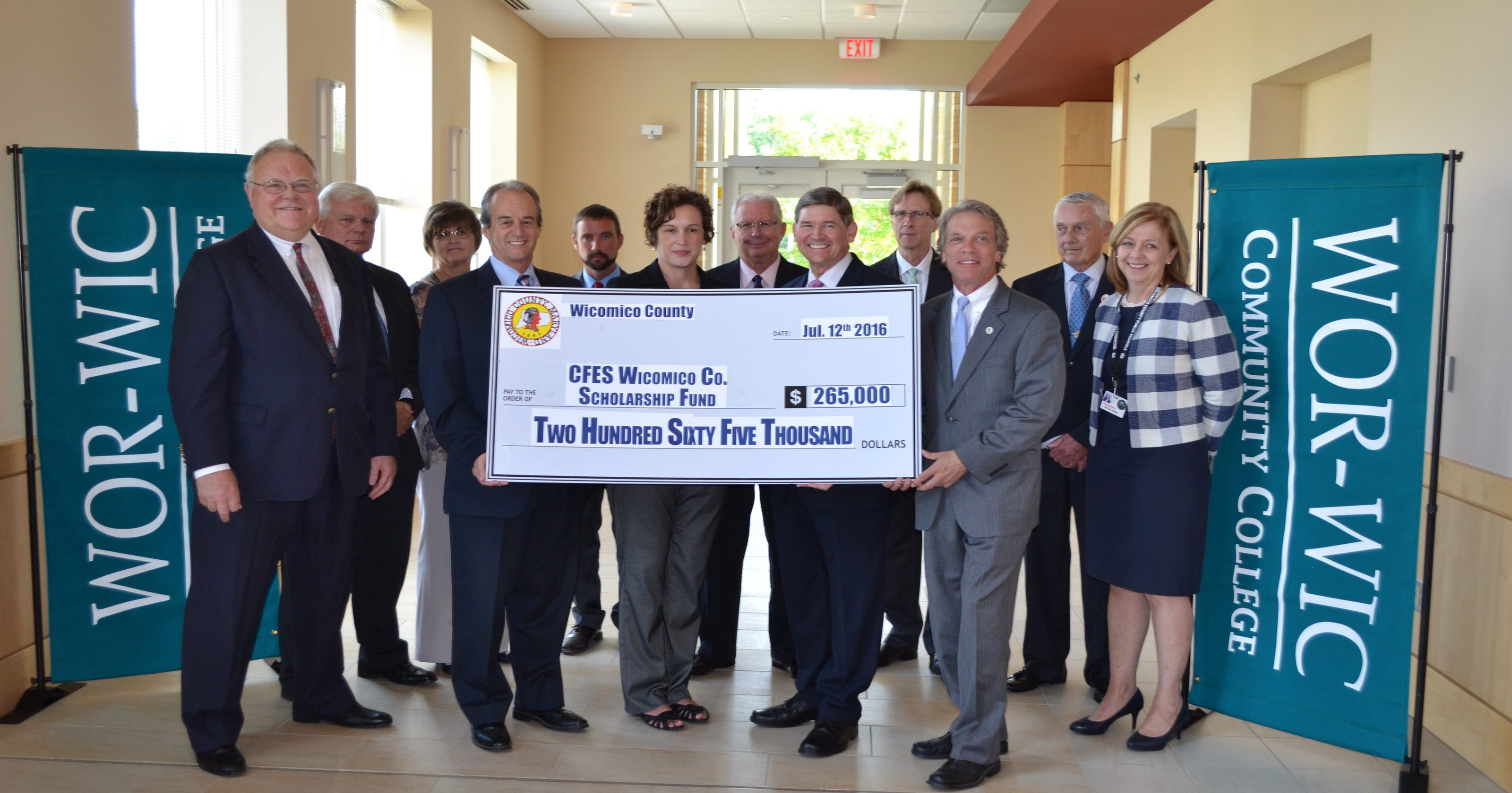 Wicomico County Presents Check For Wor Wic Scholarships