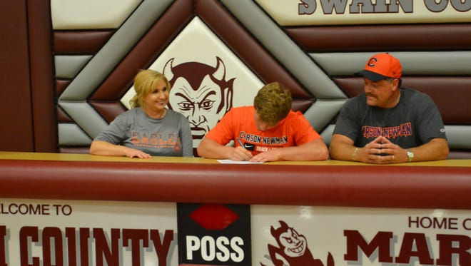Recent Swain County graduate Ross Ensley has signed with the Carson-Newman (Tenn.) track and field program.