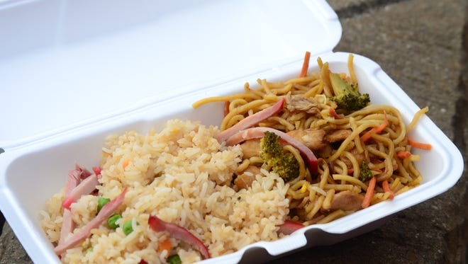 Thai Food Express food truck opened Oct. 4, 2016 in The Fussy Duck parking lot. The lunch combo comes with a combo of pork fried rice, stir fried noodles with chicken or pad Thai. The small combo, shown here, is $5.