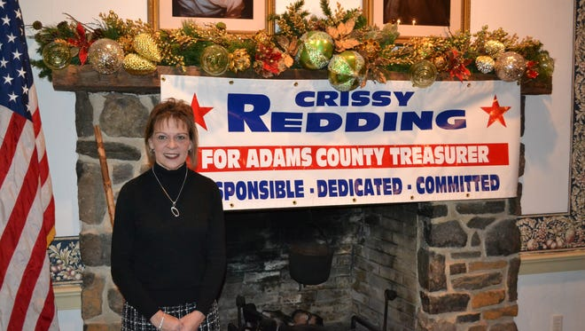 Crissing Redding poses in front of a campaign sign at the Dobbin House in Gettysburg on December 27, 2016. Redding announced her candidacy for Adams County treasurer.