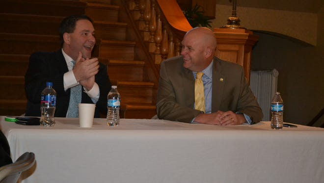 Washington state Reps. Dan Griffey, left, and Drew MacEwen entertained questions at the Shelton-Mason County Chamber of Commerce's Jan. 3 legislative send-off. The chamber prioritized ways that the legislature could support small businesses in Mason County.