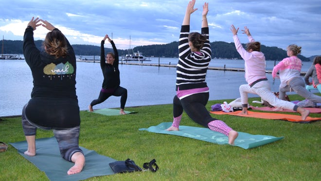 The Alderbrook Resort & Spa in Union offers a variety of classes to the community, including full moon yoga, pictured here. The award-winning resort is up for Business of the Year at the Shelton-Mason County Chamber of Commerce's Annual Awards Gala, Friday, Jan. 20, along with Nifty Thrifty Store and Shelton Cinemas. Business of the Year recognizes the company that made the most significant contribution benefiting the Mason County business community.