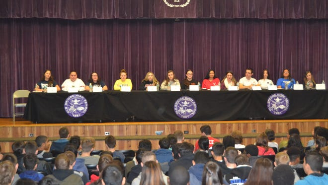 More than 125 Old Bridge High School graduates returned to their alma mater for Alumni Day today to meet with students, teachers, staff and administrators to share stories and update them about their lives and experiences since graduation.