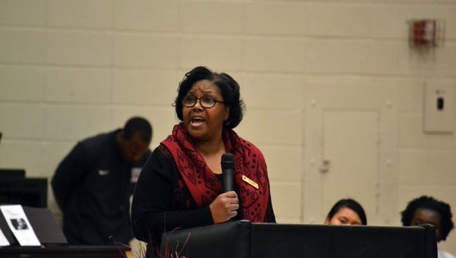 Westside High School's office clerk Mary Foggie is the guest speaker for the Black History Month Celebration Friday morning.