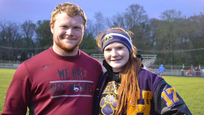 Tyler Hoodlebrink, a senior at IU East, and sister Aimee Hoodlebrink, a senior at Hagerstown, are among the best in their track and field events.