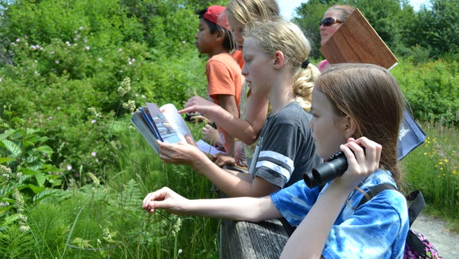 Sand Hill Elementary students Jessica Vaillancourt, 11, in blue, and Cali DuPont, 11, in gray, bird watch on the trails at the Salmon Center in Belfair. The Hood Canal Salmon Enhancement Group plans to use EPA funds to expand the summit and other environmental education programs.
