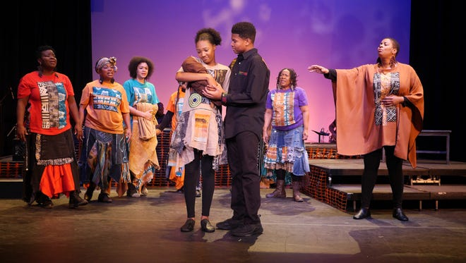 "As Mary and Joseph, Camara Stampley and Najee Robinson welcome a baby in ""Black Nativity"" in 2017. Production interns are being sought for this year's ""Black Nativity."""