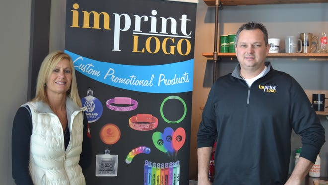 Kellye and Craig Stephens took their successful internet company, Imprint Logo, to the next step when they opened a brick and mortar store in Marblehead in December. The shop gives clients the opportunity to see the company's products in person.