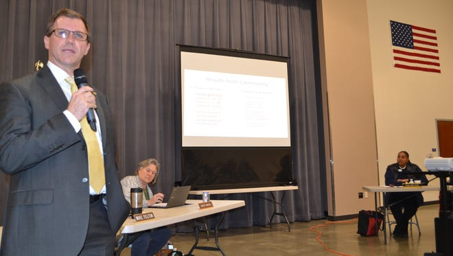 Pioneer School District Superintendent Marty Brewer discussed the possibility of building a cooperative high school with the Hood Canal School District, last November.