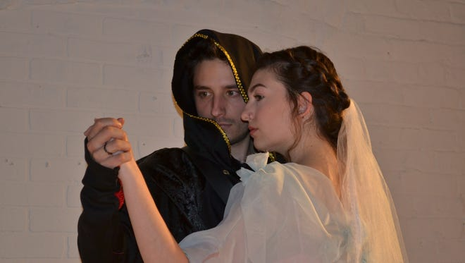 """The troubled relationship between Hamlet (played by Garrett Gallidot, left) and Ophelia (Allegra Mroz) is one of the conflicts that preys on the mind of the prince of Denmark in Shakespeare's tragedy. """"Hamlet"""" will be staged by Dover Little Theatre starting Friday, April 13."""