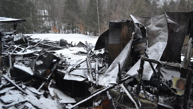 Vermont State Police released this photo after a South Royalton home fire on Saturday, April 14, 2018 that left one woman dead.