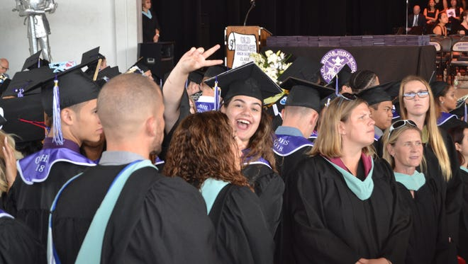 Graduation exercises for the Class of 2018 at Old Bridge High School were conducted on Monday, June 25, at the PNC Bank Arts Center. Among the graduates was Olympian Laurie Hernandez, a township resident who was homeschooled, and participated in the commencement exercises.