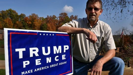 Donald Trump for President supporter Randy Pace shows off a yard sign Nov. 3, 2016, at his West Knoxville home.