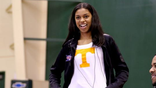 Evina Westbrook reveals her decision to play basketball for Tennessee in November during a signing ceremony in Salem, Ore.