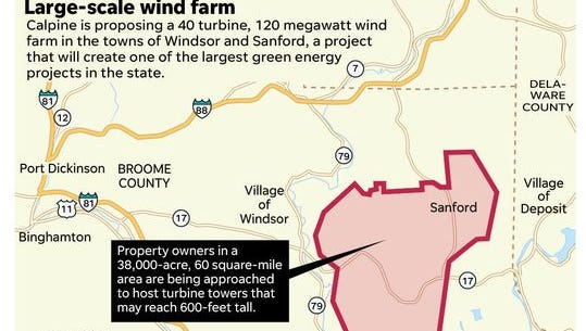 The aaproximate area of the proposed wind farm