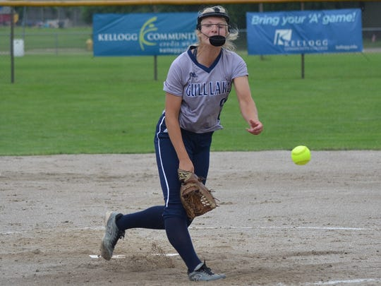 Gull Lake pitcher Lauren Esman throws home during regional