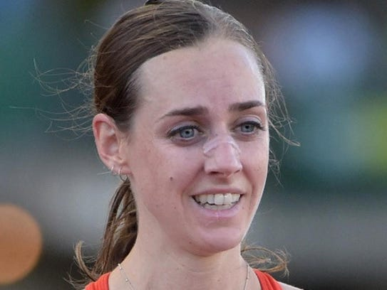 Molly Huddle this past June after her win in the 10,000