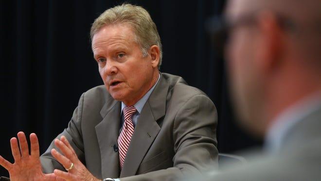 Former Virginia Sen. Jim Webb talks to The Des Moines Register Editorial Board on Tuesday.