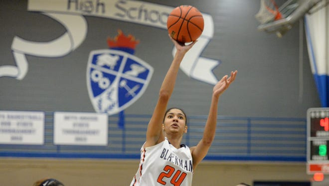 Jazz Bond and top-ranked Blackman faces Oakland at 7:30 p.m. Monday in the District 7-AAA girls basketball championship game.