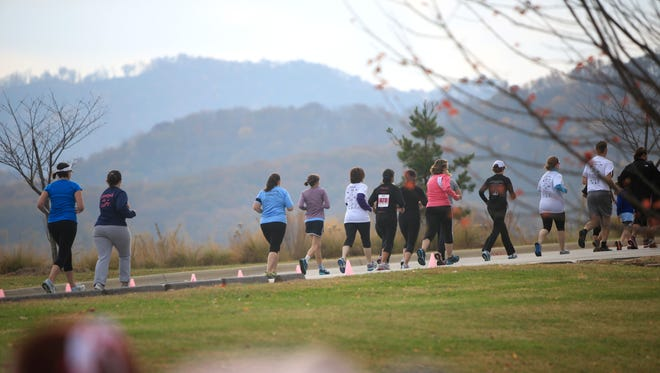 Runners take part in a past Power of Pink event at MedWest Health and Fitness Center in Clyde to raise money for mammograms for women in Haywood County.