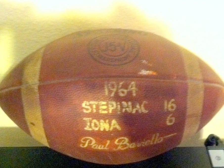 Football from Stepinac's 1964 victory over Iona Prep.