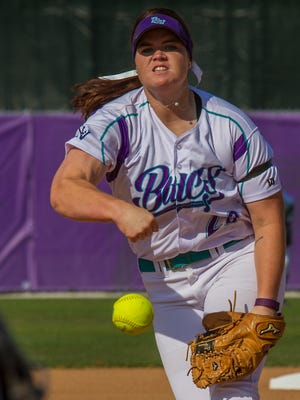 FSW's starting pitcher Courtney Gettins makes her throw in the first inning of a double header against Polk State College Tuesday (4/12/16) at City of Palms Park. The Buccaneers won the first game 8-3 and the second 10-0.