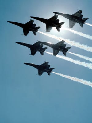 Fighter planes flying in formation