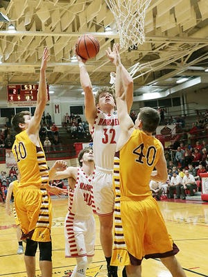 Braeden Beard goes up for a basket against Pike Central. The Tell City junior is the Courier & Press All-Southwestern Indiana Player of the Year.