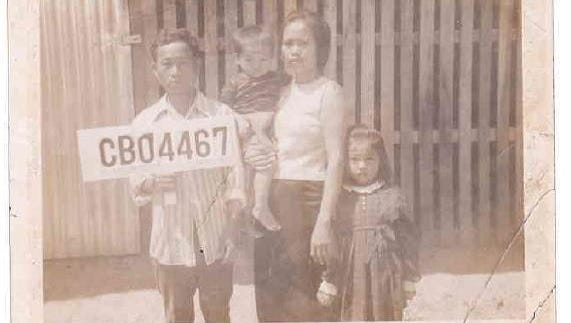 SreyRam Kuy as a child with her family in the refugee camp.
