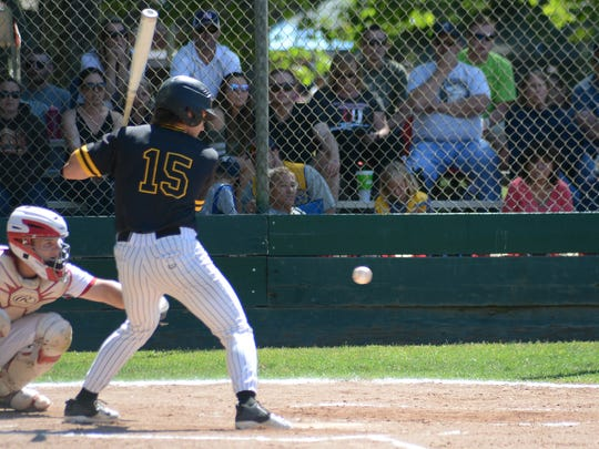 Enterprise's Jacob Gilbreath takes a ball as he draws a walk in the Lions All-Star baseball game Saturday at Doryland Field in Chico.