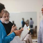 "Composer Daron Hagen, center, is preparing singers/actors for his opera ""A woman in Morocco,"" which deals with human trafficking in 1950s. On left is Brent Smith, on right is Joe Flaxman.  May 4, 2015."