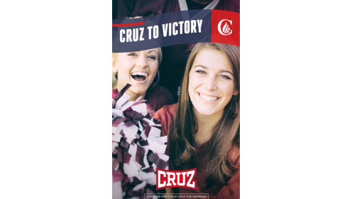 The Ted Cruz campaign purchased ad space on Snapchat, allowing users the option of including the logo on their videos and photos. The image was provided by the campaign Wednesday.